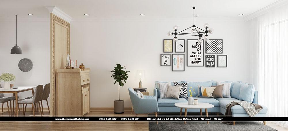 Thiết kế nội thất phòng kháchchung cư Goldseason 47