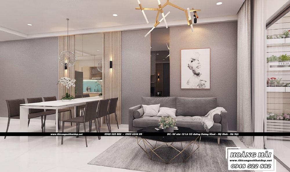 Dự án thiết kế nội thất phòng khách chung cư Sun Avenue 90m2 - Anh Tân