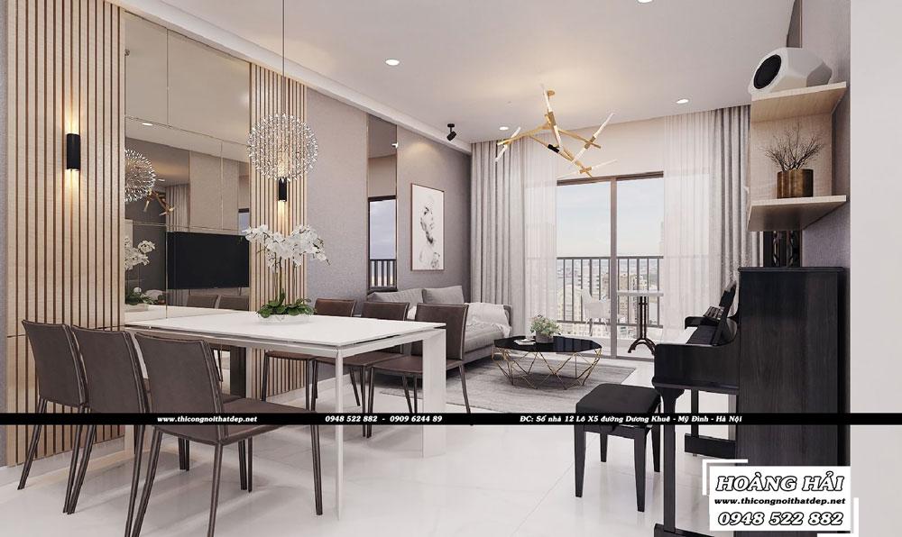 Dự án thiết kế nội thất phòng ăn chung cư Sun Avenue 90m2 - Anh Tân