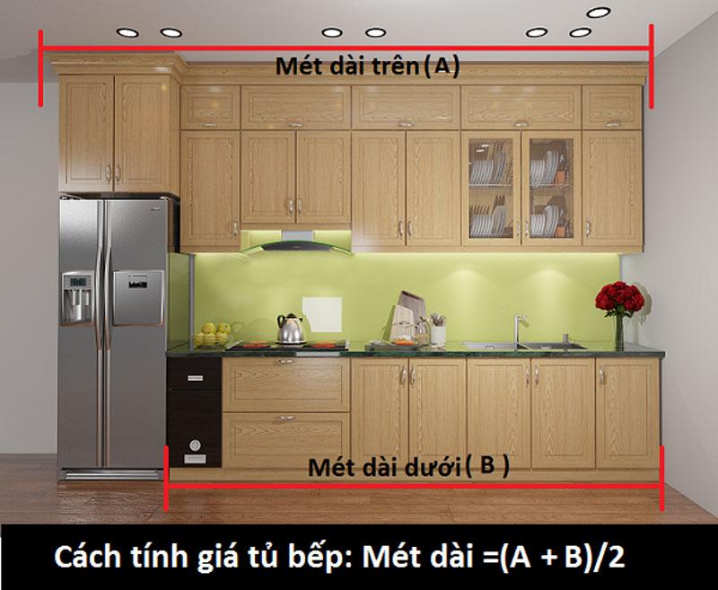 cách tính giá tủ bếp acrylic, xoan đào, laminate, sồi