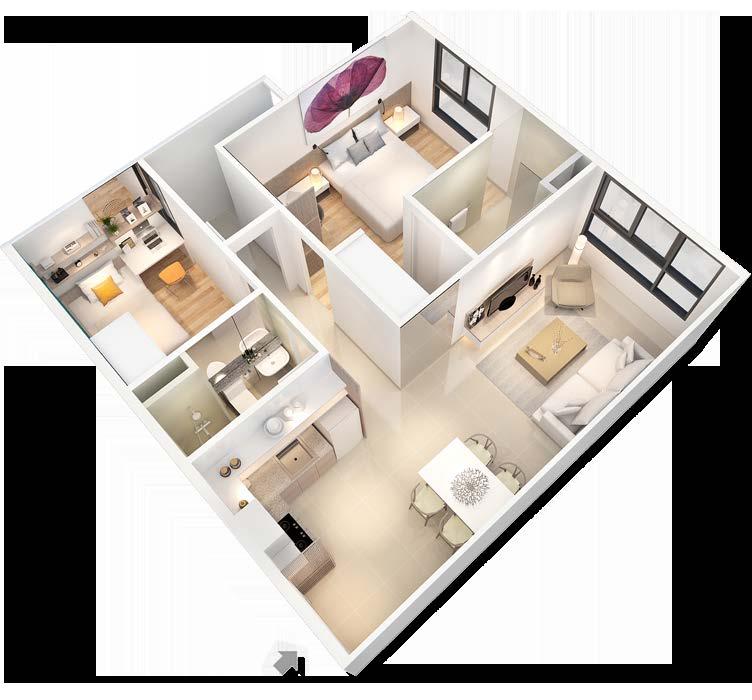 mặt bằng căn hộ chung cư CityHome 63m2