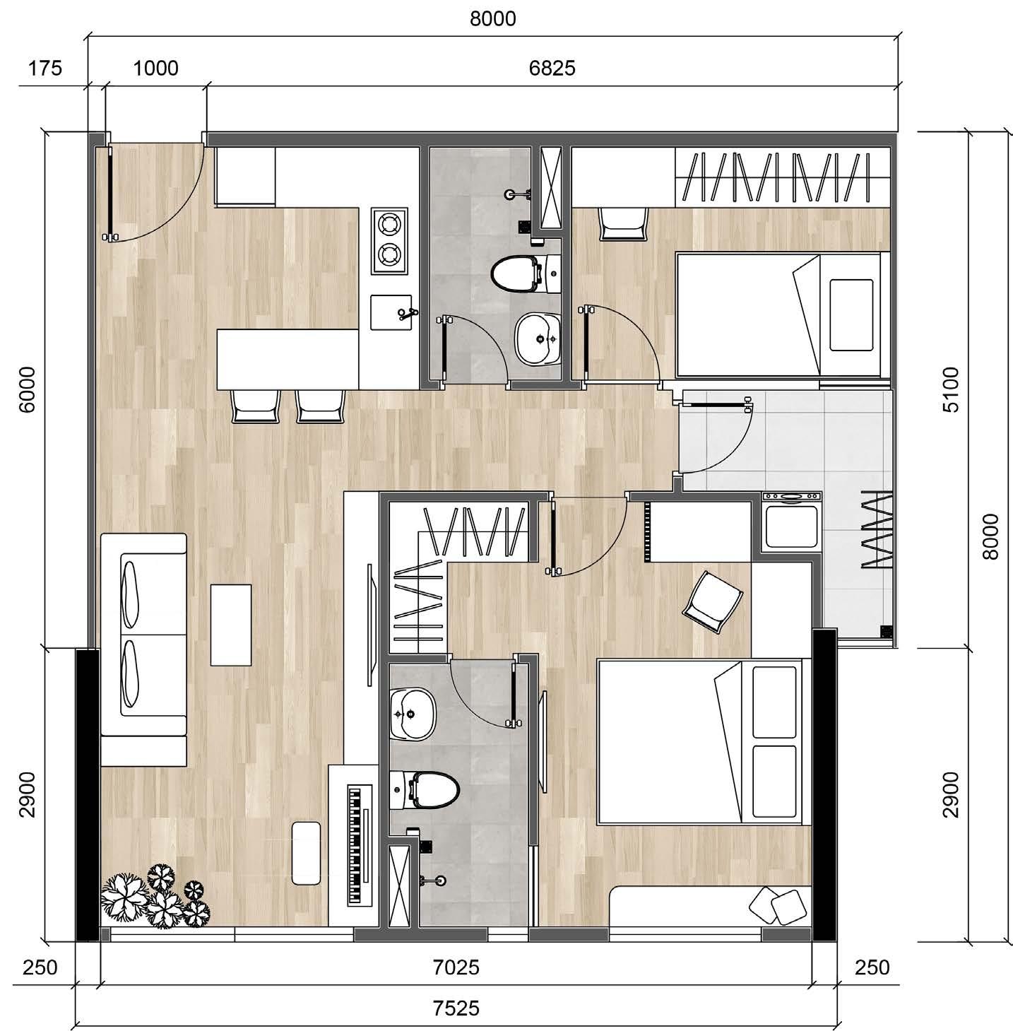 bản vẽ căn hộ chung cư CityHome 63m2