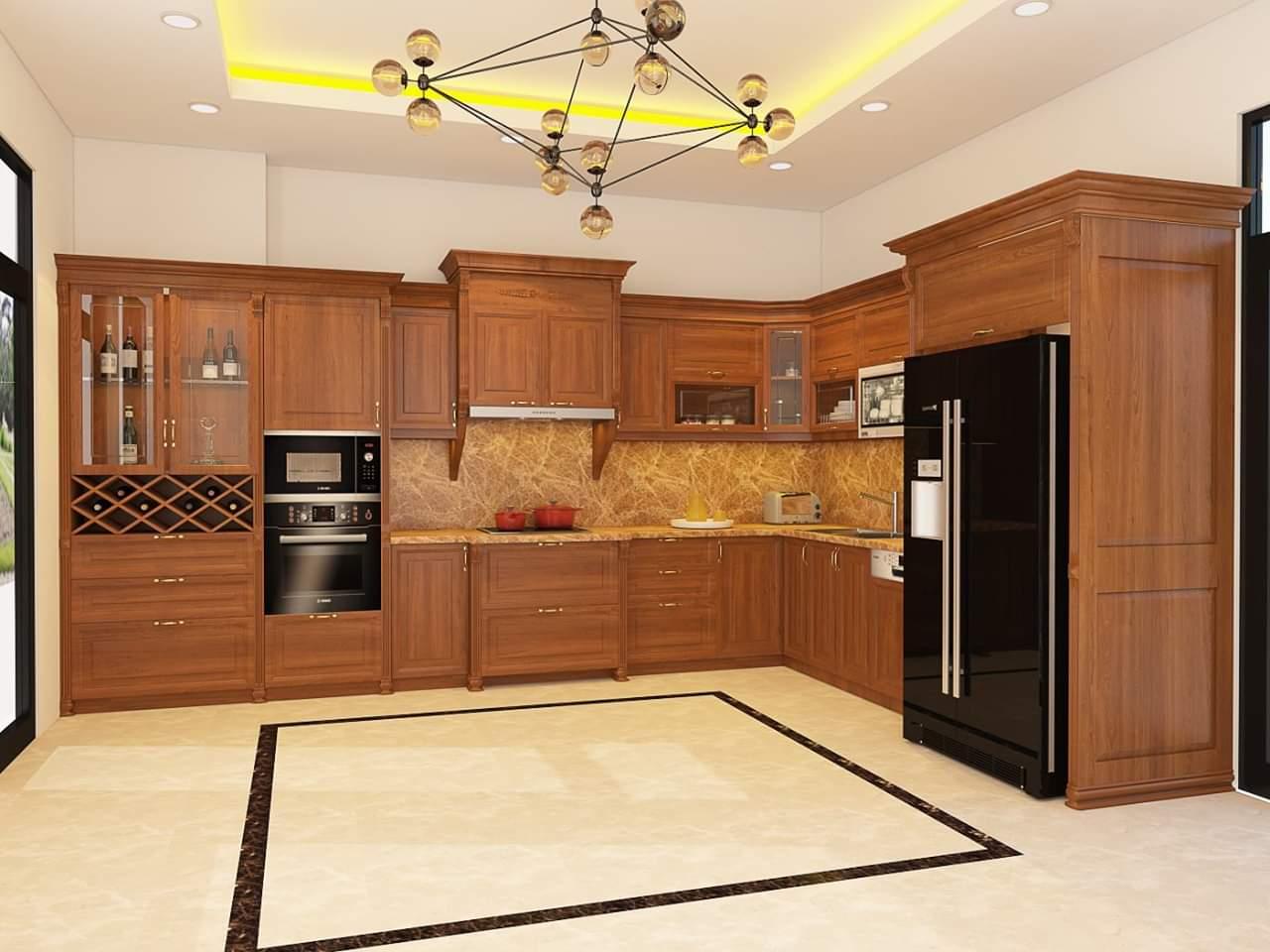 Thiết kế tủ bếp gỗ gõ đỏ tại Hà Nội