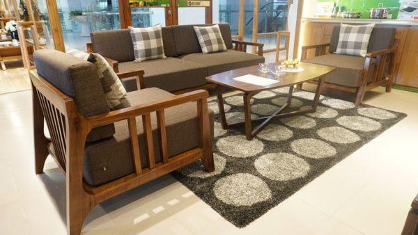 sofa gỗ óc chó hiện đại