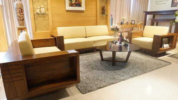 sofa gỗ óc chó chất lượng