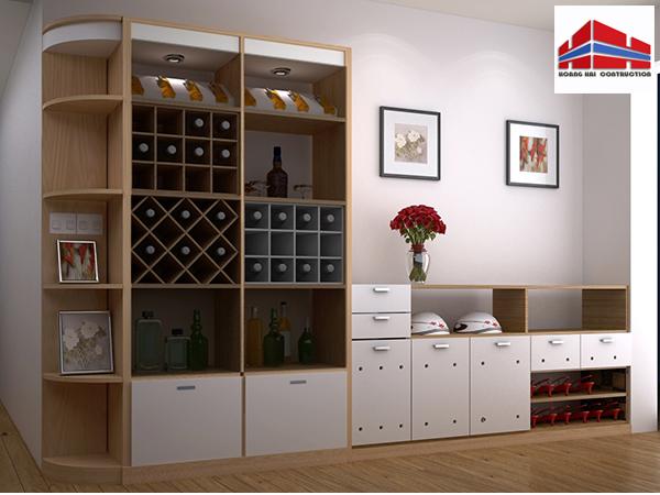 Thiết kế tủ rượu gỗ óc chó